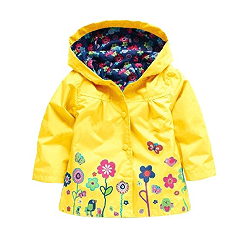 ROT Kids Girls Clothes Jacket Raincoat Waterproof Hooded Coat Outerwea (90cm(Age For 1.5T-2.5T), Yellow)
