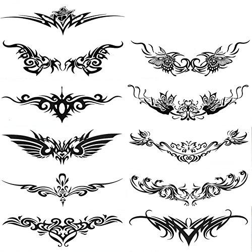 Hacoly 11 Blätter Temporär Tätowierung schwarz Tattoo Körperkunst -