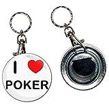 BadgeBeast.co.uk I love Poker - Llavero con abridor de botellas de 55 mm con llavero