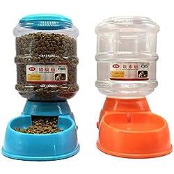 Semoic 2 x Distributeur de Croquettes et d'eau pour Chien et Chat 3.5L