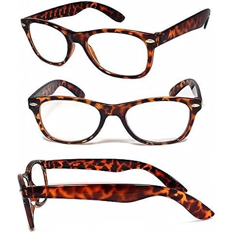 Designer marrone occhiali Wayfarer Occhiali da lettura Lettori + 2.0Geek Mondo Eye (Designer Dispenser)
