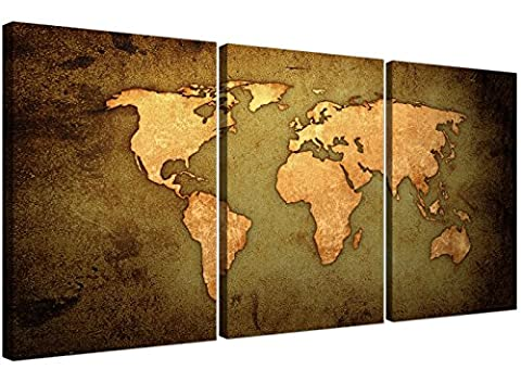 Vintage World Map Canvas Art Set of Three for your Study - Large Antique Effect Canvases - 3189 - Wallfillers®