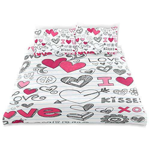 ISAOA 3D Love Hearts Sketchy Doodle Vector Wendebettwäsche-Set mit Kissenbezügen, Kinder-Bettwäsche-Set