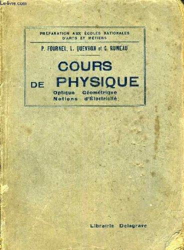 COURS DE PHYSIQUE OPTIQUE GEOMETRIQUE NOTIONS D'ELECTRICITER.