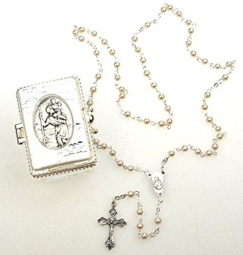 Kommunion, zur Taufe, zur Hochzeit Rosenkranz schimmernde Perlen im Christopherus Döschen (Die Erste Kommunion Kreuz)