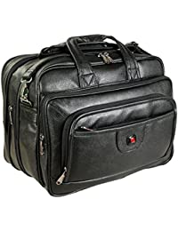 Easies Synthetic Leather 17 Inches Full Expandable Black Color Executive Office Bag By Exclusive Fashion Luggage