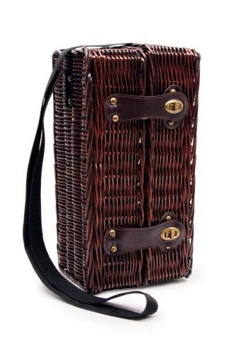 """Picknickkorb """"Weingenuss"""" aus Holz, inkl. zwei Weingläser und Kellnermesser, Utensilien werden durch Riemen mit Klett im Korb verstaut, mit praktischem Trageriemen für einen bequemen Transport"""