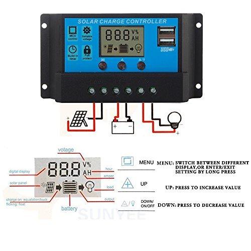 Ecloud Shop® LCD-20A 12V / 24V PWM Solar Panel Laderegler Regulator Adapter Doppel-Ports