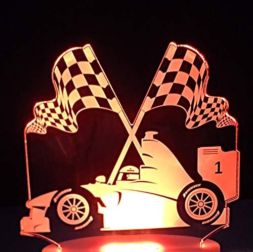 Nachtlichter Dekor 7 Farben Ändern 3D Led Leucht Tischlampe Touch-Schalter F1 Rennwagen Usb Kinder Schlafzimmer Nacht Victory Flag -