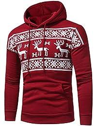 Sweatshirt de Noël, Internet Homme Pull à Capuche Imprimé de Noël Manche Longue Sweat à Capuche Automne Hiver