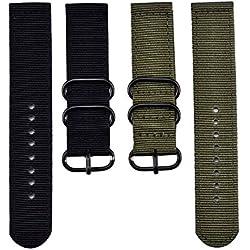 2 Piezas Reemplazo Banda de Reloj de Nylon Correas de Reloj, Verde de Ejército y Negro (20 mm)