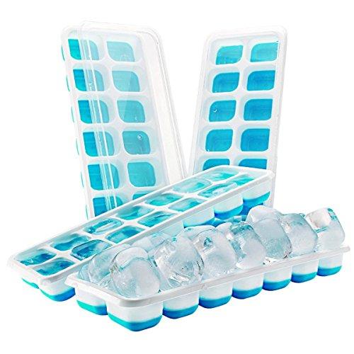 Eiswürfelform,SUAVER Silikon Eiswuerfel Form Eiswuerfelbehaelter Mit Deckel Ice Tray Ice Cube 14-Fach, Kühl Aufbewahren,Eiswürfelform geeignet für Whiskey, Cocktail, Getränke (2 Blau)