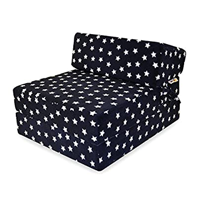 Little Mattress Company® Zbeds - Memory Foam Fold-Out Single Sofa Futon Guest Z Bed - Navy & White Stars - 71cm x 57cm x 46cm - Including Luxurious Soft Plush Fleece Cover - inexpensive UK sofabed shop.