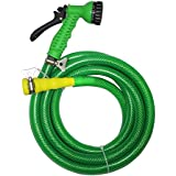 "TechnoCrafts PVC Braided Hose For Floor Care 5 Meter (16.5 Feet) 3/4"" (0.75 Inch Or 19mm) Bore Size - 3 Layered Hose Pipe With 7 Function Spray Gun, 1/2"" Tap Connector & 2 Butterfly Clamps"