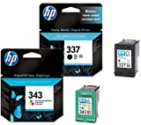 HP 337 / HP 343 Black / Tri-Colour Multipack - 2 Original Printer Ink Cartridges for HP Deskjet 5940 5943 6940 6980 D4145 D4155 D4160 D4163 D4168 Officejet 6300 6310 6313 6315 H470 K7100 K7103 K7108 Pro Photosmart 2570 2573 2575 8049 8050 8750 C4100 C4140 C4150 C4160 C4180 C4183 C4188 C4190 D5100 D5145 D5155 D5160 D5163 D5168