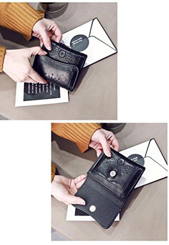 Portafoglio Donna, Tpulling le donne lady cuoio frizione portafoglio breve titolare della carta borsa borsa (Brown) Black