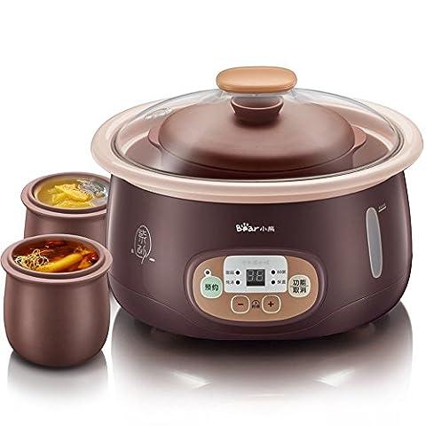 LIUYU Cuisinière électrique lente de 1,8L Stew Cup 3 Soupe de ragoût de porridge à l'intérieur