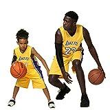 XCR Bambini Ragazzi Ragazze Uomo Adulto NBA Lebron James #23 LBJ LA Lakers Retro Pantaloncino e Maglia Basketball Jersey Basket Maglie Uniforme Top & Shorts 1 Set (Giallo (Yellow), 2XS (Bambino))