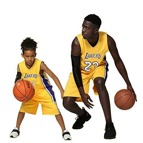XCR Niños Chico Chicas Hombres Adulto NBA Lebron James #23 LBJ LA Lakers Retro Pantalones Cortos y Camisetas de Baloncesto Basketball Jersey Uniformes Top&Shorts 1 Set (Amarillo (Yellow), XL (Niños))