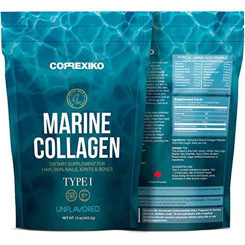 Protein Nagel (Premium Marine Kollagen Hydrolysat Peptide (Made in Canada) - Von Wild gefangenem Fisch (nicht gezüchtet), Anti-Aging-Protein-Pulver für Haut, Haare, Nägel, Gelenke, Knochen und Verdauungs-Gesundheit)