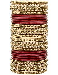 a3407a49aa21 Sukriti Rajasthani Bridal Lac Chura Bangles for Women - Set of 20 (Color  Variants Available