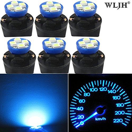 WLJH 6 stücke Ice Blue T10 2825 4-SMD LED Lampe Lichter Armaturenbrett Gauge Cluster Reparatur Kit mit 194 Twist Lock Sockel (Boot-plug-licht)