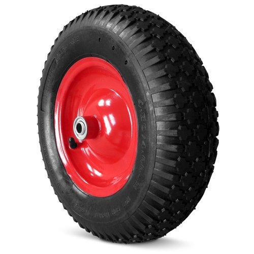Deuba Schubkarrenrad luftbereift | 4 Gewebeeinlagen | 4.80/4.00-8 | Ø 390mm | 200 kg | 95mm Breite | Ersatzrad Reifen (Reifen Fahrrad Achse)