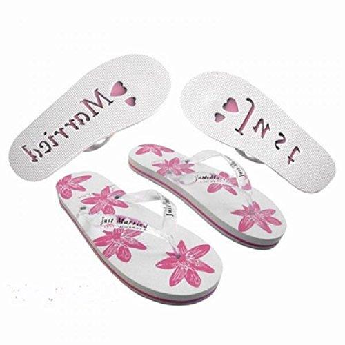 X45Damen Groß UK 6–8EU 39–43Honeymoon Flip Flops Weiß & Pink Floral Design