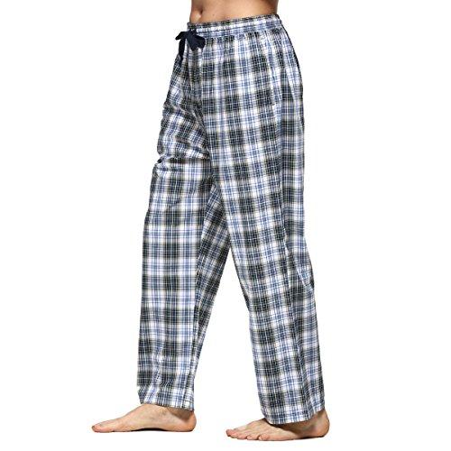 Männer Baumwoll-Pyjama Bottoms Tartan-karierte Hosen Lange Lounge Schlafanzughosen (S, Blau&Gelbes Plaid) (Pyjama-hose Flanell Schlafen)