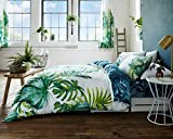 Lifestyle Production New Multi Design Alice_Geo_Pop_Pineapple_Botanical- Tutti Fruiti Printed PolyCotton Reversible Duvet Quilt Cover Sets Bedding Pillowcases (Double, Tropical Leaf)