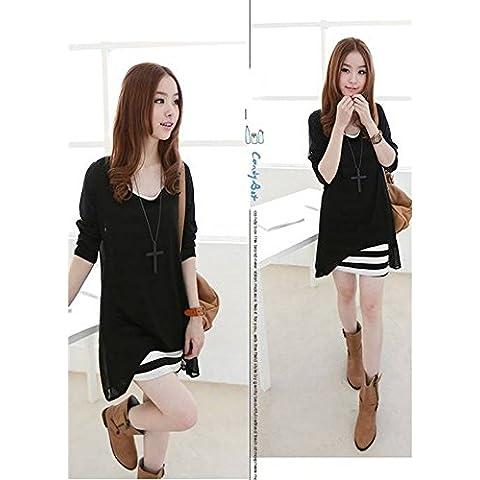 Evtech (tm) falso de dos piezas de las mujeres vestido de manga larga a rayas Loose drapeado cuello redondo vestido de Negro - XL