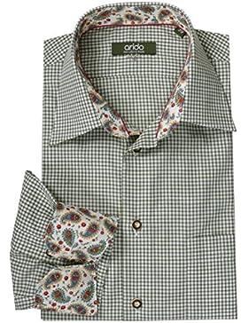 Moschen-Bayern Premium-Class Trachtenhemd Herren Karo Kariert Langarm Kurzarm Baumwolle Slim Fit - Grün