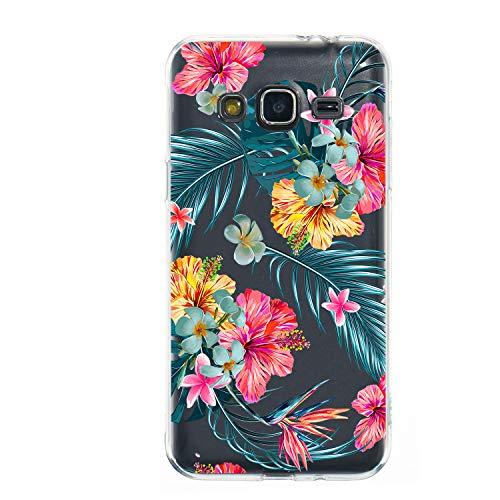 Miagon Galaxy J3 2016 Transparent Handyhülle,Silikon Hülle für Samsung J3 2016, Schön Kreativ Blatt Rot Blume Muster Weiche Silikon Schutzhülle für Samsung Galaxy J3 2016