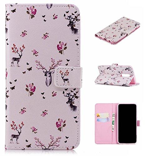 für Smartphone OnePlus 6 Hülle, Leder Tasche für OnePlus 6 Flip Cover Handyhülle Bookstyle mit Magnet Kartenfächer Standfunktion # (9)