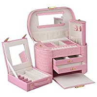Rowling Faux Leather Jewellery/Watch box Jewelry Storage Display Case ZG152 (Pink)