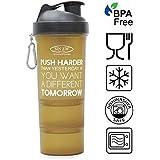 Sinew Nutrition All In One Smart Shaker Bottle 600ml - 20 Oz (Brown/Black)