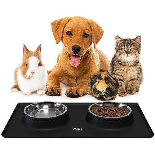 Damit's sauber bleibt: Silikon-Napfunterlage für Katzen- und Hundenäpfe, Edelstahlschüsseln, Fressnapf, Futternapf, Katzenzubehör Hundezubehör Schwarz