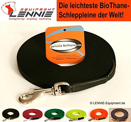 BioThane® Schleppleine für sehr kleine Hunde, 9 mm Ultra Thin (1-30 Meter [10 m], 6 Farben [Schwarz], GENÄHT, ohne Handschlaufe)