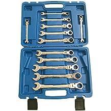 wnb 12 PC Cabeza Flexible Llave Combinada Con Trinquete Set 8mm, 9mm, 10mm, 11mm, 12mm, 13mm, 14mm, 15mm, 16mm, 17mm, 18mm, 19mm Alta Calidad 72 dientes de engranaje Engranaje