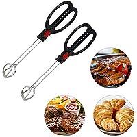 agywell 2pcs Cocina Tijeras Pinzas con silicona de plástico Cocina Alimentos  Pan Pinza Pinzas de barbacoa f0b10b11e108