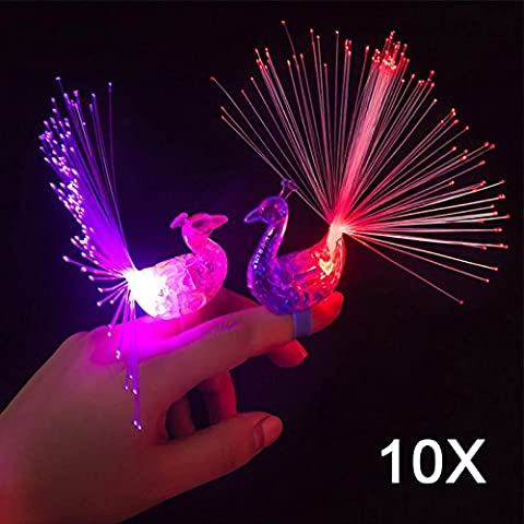 Hrph 10pcs Peacock Finger-Nachtlichter Farbe LED-Lampe für Kinder Optical Fiber-Finger-Licht Educational (Alt Fiber)