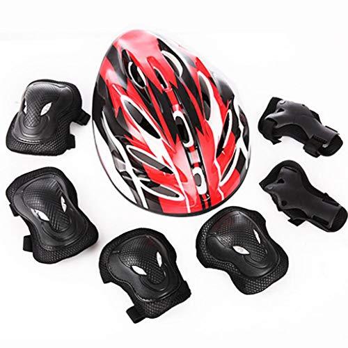 DJL Erwachsener Helm Schutzausrüstung Set von 7 Fahrrad Helm Roller Skating Helm Bull Head Schutzausrüstung Erwachsener Tigerkopf Schutzausrüstung Set DJLSF (Farbe :...