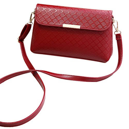 Azbro Women's Detachable Strap PU Leather Shoulder Bags, Black One Size Burgundy