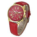 Xinantime Relojes Pulsera Mujer,Xinan Cuarzo Romana Cuero de Imitación Relojes Regalo (Rojo)
