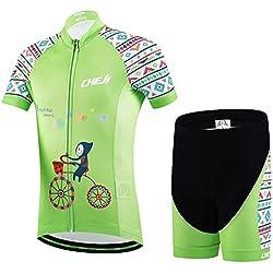 Ateid Maillot de Ciclismo y Pantalones Cortos para Niños, Mundo Hermoso 9-11 años