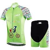 Ateid Set di Maglia Ciclismo-Bambino-Maniche corte e Pantalone corto con Imbottitura Mondo Meraviglioso 7-9 anni