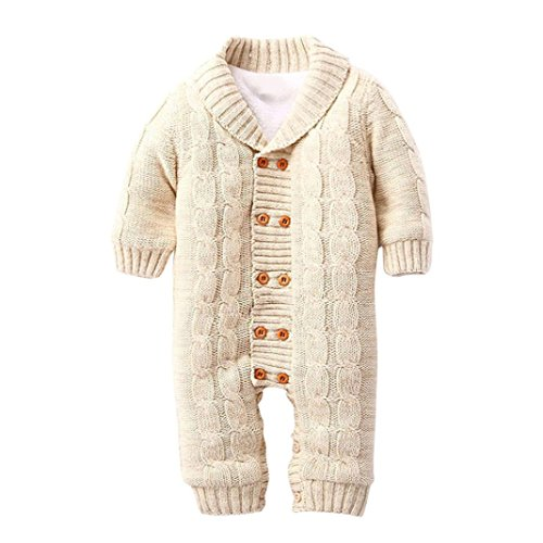SHOBDW Girls Clothes, Baby Boys Button Rompers Lapel Knitted Thickened Gifts Sweater Newborns Winter Warm Jumpsuit (0-6 Months, Khaki)