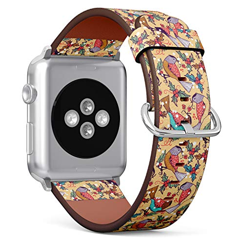 Holly Leder (R-Rong kompatibel Watch Armband, Echtes Leder Uhrenarmband f¨¹r Apple Watch Series 4/3/2/1 Sport Edition 42/44mm - Christmas Pattern with Colored Birds and Holly Berries)