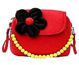 Fablcrew, borsetta da principessa con fiori di peluche e perline per bambine rosso Red 14x4x12cm