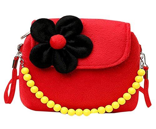 Westeng bambini Little Girl s in rilievo borsa Principessa sveglia pacchetto borsa della moneta del velluto per il migliore regalo per 1-6 anni Red